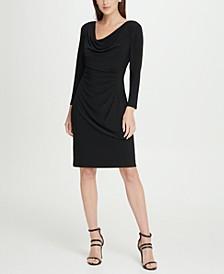 Long Sleeve Cowl Neck Pleated Sheath Dress
