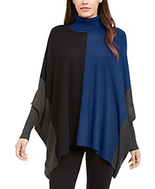 Turtleneck Colorblock Poncho Sweater, Created for Macy's