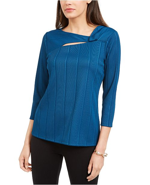 Alfani Petite Solid Twist-Neck Top, Created For Macy's
