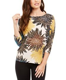 Alfani Floral-Print Dolman-Sleeve Top, Created for Macy's