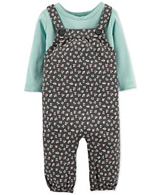 Baby Girls 2-Pc. Cotton T-Shirt & Floral-Print Overalls Set