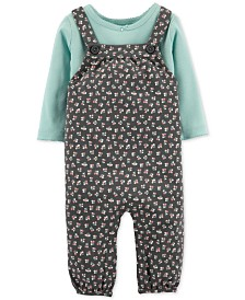 Carter's Baby Girls 2-Pc. Cotton T-Shirt & Floral-Print Overalls Set