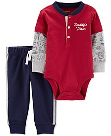 Baby Boys 2-Pc. Cotton Layered-Look Bodysuit & Jogger Pants Set