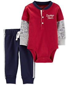Carter's Baby Boys 2-Pc. Cotton Layered-Look Bodysuit & Jogger Pants Set