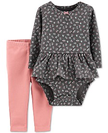 Carter's Baby Girls 2-Pc. Cotton Floral-Print Peplum Bodysuit & Leggings Set