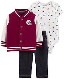 Baby Boys 3-Pc. Varsity Jacket, Printed Bodysuit & Pants Set