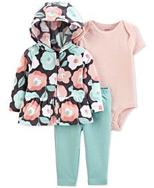 Baby Girls 3-Pc. Floral-Print Fleece Hoodie, Striped Bodysuit & Leggings Set