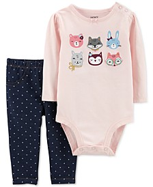Baby Girls 2-Pc. Animal Bodysuit & Dot-Print Jeggings Set