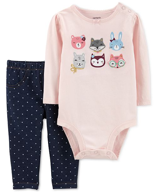 Carter's Baby Girls 2-Pc. Animal Bodysuit & Dot-Print Jeggings Set