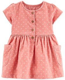 Baby Girls Cotton Floral-Print Corduroy Dress