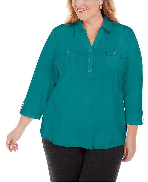 Karen Scott Plus Size Cotton 3/4-Sleeve Polo Top, Created for Macy's