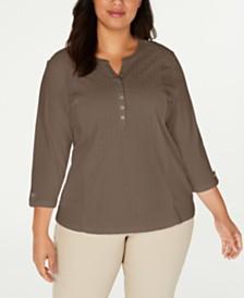 Karen Scott Plus Size Cotton Eyelet Henley Top, Created for Macy's