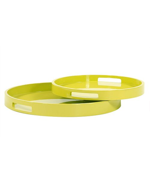 Howard Elliott Lime Green Lacquer Round Wood Tray Set