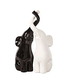 Elephant Love Black White Sculpture