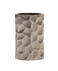 Hammered Aluminum Oval Vase Graphite