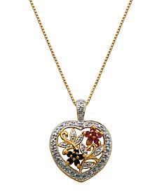 Prime Art & Jewel 18K Gold Heart/Floral Multi Stone Pendant