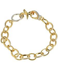 Prime Art & Jewel 18K Gold Over Sterling Silver Link Bracelet