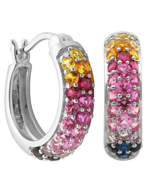 Macy's Multicolored Stone Hoop Earrings in Sterling Silver