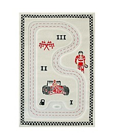 "Racer Cream 3D Kids Play Rug, 72""L x 53""W"