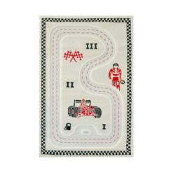 "Ivi Racer Cream 3D Kids Play Rug, 59""L x 39""W"