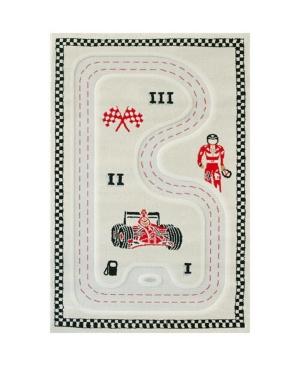 "Ivi Racer Cream 3d Kids Play Rug, 72""l X 53""w"