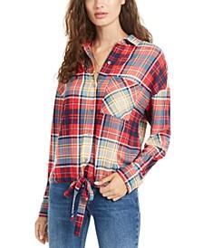 Juniors' Soft Drawstring-Hem Plaid Shirt