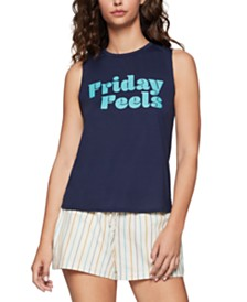 BCBGeneration Friday Feels Graphic-Print Muscle Tank Top