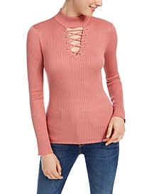 Juniors' Lace-Up Mock-Neck Sweater