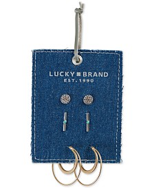 Lucky Brand Two-Tone 3-Pc. Set Crystal & Stone Earrings