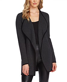 Cotton Open-Front Herringbone Cardigan