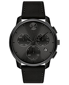 Men's Swiss Chronograph Bold Black Leather Strap Watch 42mm