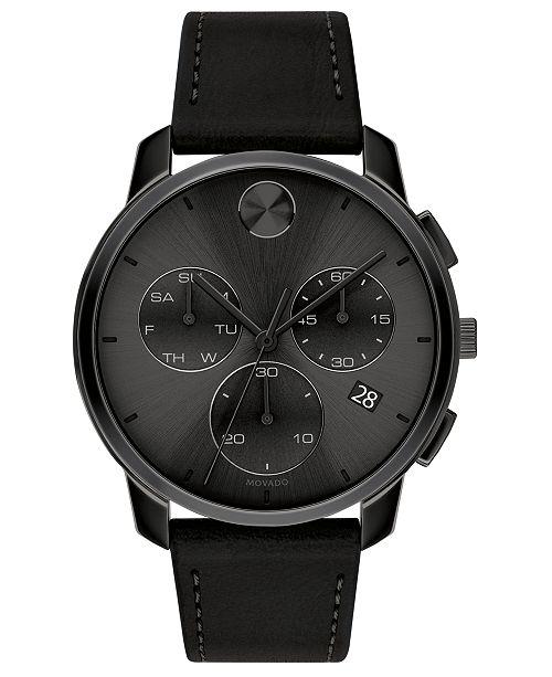 Movado Men's Swiss Chronograph Bold Black Leather Strap Watch 42mm