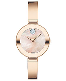 Movado Women's Swiss BOLD Rose Gold-Tone Stainless Steel Bangle Bracelet Watch 28mm