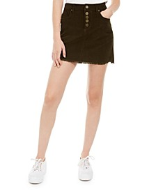 Juniors' Raw-Hem Corduroy Mini Skirt