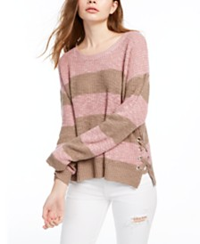 Hippie Rose Juniors' Lace-Up Sweater
