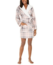 Faux-Fur-Trim Plaid Robe, Created For Macy's