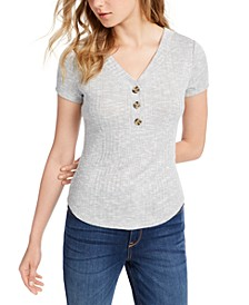 Juniors' Ribbed Henley Top
