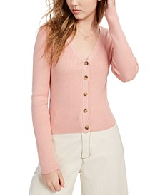 Juniors' Cropped Ribbed Cardigan Sweater