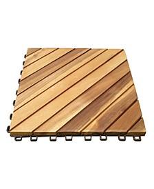 Outdoor Patio 12-Diagonal Slat Acacia Interlocking Deck Tile Set of 10 Tiles