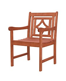 Malibu Outdoor Patio Diamond Eucalyptus Dining Armchair