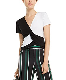 INC Colorblocked Twist-Front Top, Created for Macy's