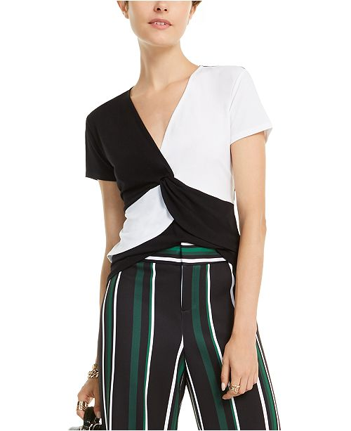 INC International Concepts I.N.C. Colorblocked Twist-Front Top, Created for Macy's
