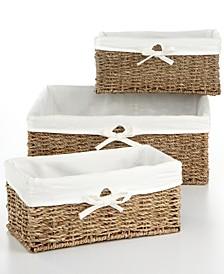 Storage Baskets, Set of 3 Seagrass Utility