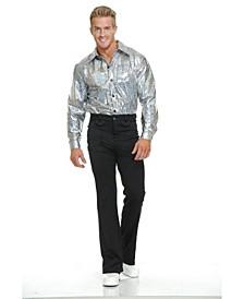 Men's Silver Glitter Disco Shirt