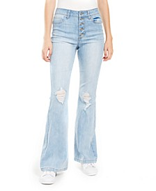 Juniors' Ripped Button-Fly Flare-Leg Jeans