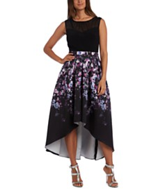 R & M Richards Floral-Print High-Low Dress