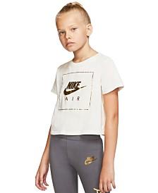 Nike Big Girls Air-Print Cotton Cropped T-Shirt