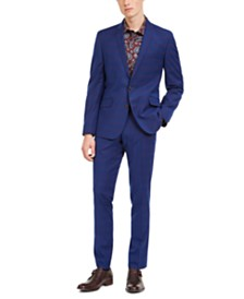 Billy London Men's Slim-Fit Performance Stretch Blue/Burgundy Plaid Suit