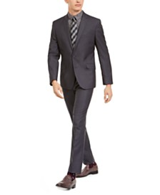 Billy London Men's Slim-Fit Performance Stretch Dark Gray Suit