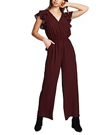 V-Neck Flutter-Sleeve Jumpsuit